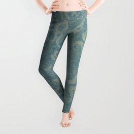 Antique rustic teal damask fabric Leggings