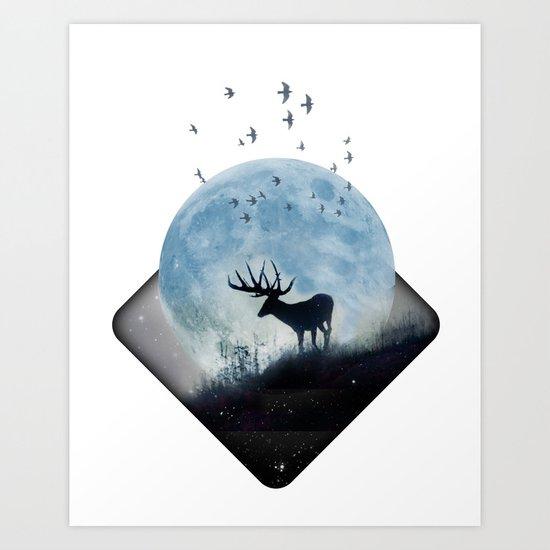 blue moon spill Art Print