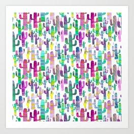 Watercolor Cacti - Pinks - Saguaros Art Print
