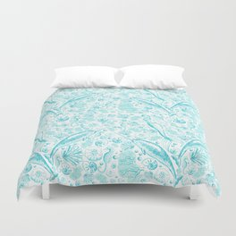 Mermaid Toile - Teal Duvet Cover