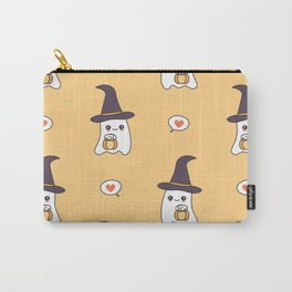 cute cartoon ghosts with pumpkins pattern background Carry-All Pouch