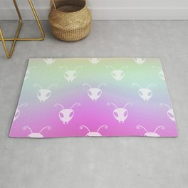 Bug Heads Insect Pattern Rainbow Gradient Rug