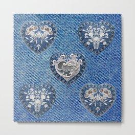 Flowers On Hearts Metal Print
