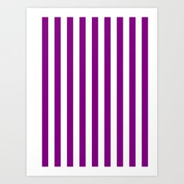 Narrow Vertical Stripes - White and Purple Violet Art Print