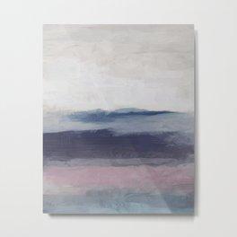 Plum Purple Navy Lavender Blue Abstract Painting Wall Art Prints, Ocean Waves Horizon, Modern Wall Metal Print