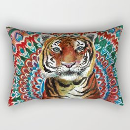 Tiger Watercolor Yoga Mandala Rectangular Pillow