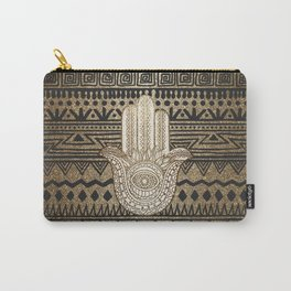Native Pattern Golden Hamsa Hand Carry-All Pouch