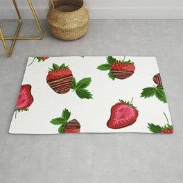 Chocolate Covered Strawberries - Milk Background Rug