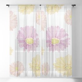 Pinks And Golden Sunshine Daisies Watercolor Pattern Sheer Curtain