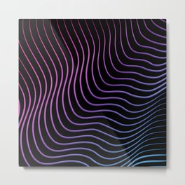 Neon Waves Metal Print