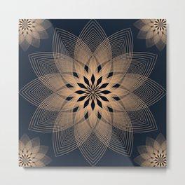 Mandala Spirits Journey / Spiritual Bohemian Gold Black Meditation Yoga Mandala Metal Print