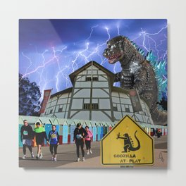 Godzilla at Play Metal Print