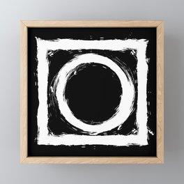 Black and white circle splatter Framed Mini Art Print