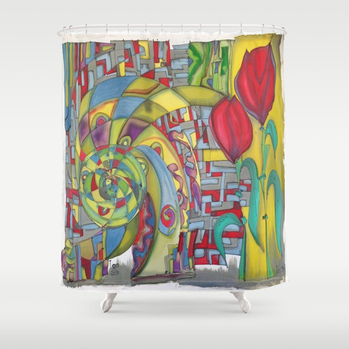 Abstract Red Flower Shower Curtain