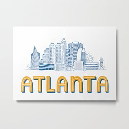Atlanta Skyline Illustration Metal Print