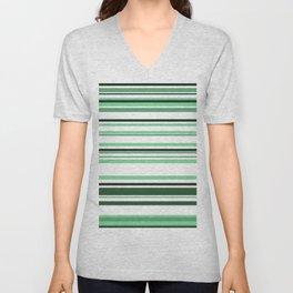 White & green Linies Unisex V-Neck