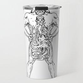 Hercules Hold Bottle Octopus Inside Drawing Black and White Travel Mug