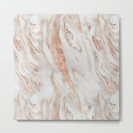 Rose Gold and White Marble 1 Metal Print