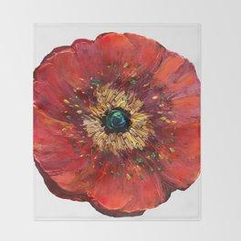 Red Poppy Throw Blanket