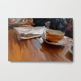 Coffee Shop Newspaper Metal Print