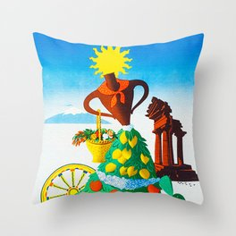 Vintage Sicilia Italia - Sicily Italy Travel Throw Pillow
