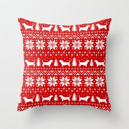 Basset Hound Silhouettes Christmas Sweater Pattern Throw Pillow