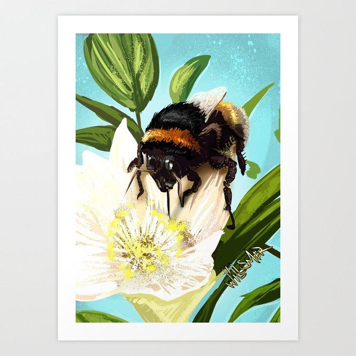Bee on flower 5 Art Print