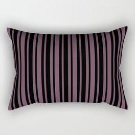 Eggplant Violet and Black Vertical Var Size Stripes Rectangular Pillow