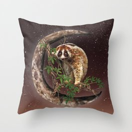 Javan slow loris Throw Pillow