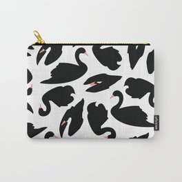 Black Swan Pattern on White 031 Carry-All Pouch
