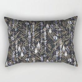 Black Blue Antique Gold Abstract Floral Rectangular Pillow