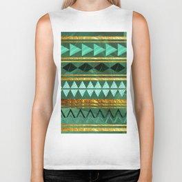 aztec Gold-emerald pattern Biker Tank