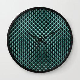 Chain Link Gleaming Aqua Green Metal Pattern Wall Clock
