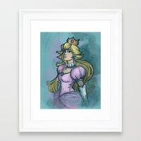 princess peach Framed Art Prints featuring Princess Peach by Karen Hallion Illustrations