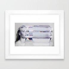 Glitch Face Melt Framed Art Print