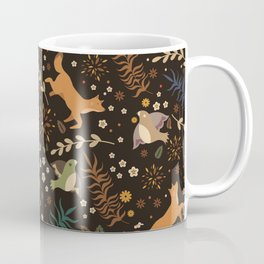 Autumn Woodsy Floral Forest Pattern With Foxes And Birds Coffee Mug