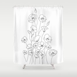 Poppy Flowers Line Art Shower Curtain