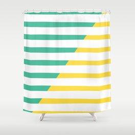 Beach Stripes Green Yellow Shower Curtain