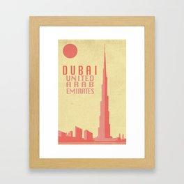 Dubai Retro Travel Poster Framed Art Print
