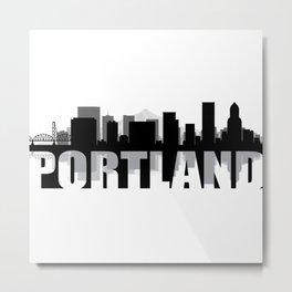 Portland Silhouette Skyline Metal Print