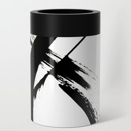 Brushstroke 7: a minimal, abstract, black and white piece Can Cooler
