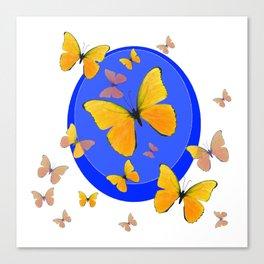 YELLOW BUTTERFLIES SWARM & BLUE RING MODERN ART Canvas Print