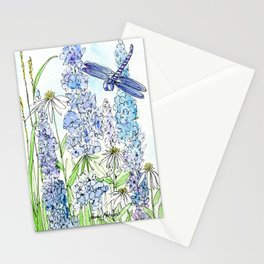 Watercolor Wildflower Garden Dragonfly Blue Flowers Daisies Stationery Cards
