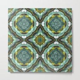 Colorful Chic Retro Abstract Batik Style Kaleidoscope Pattern Metal Print