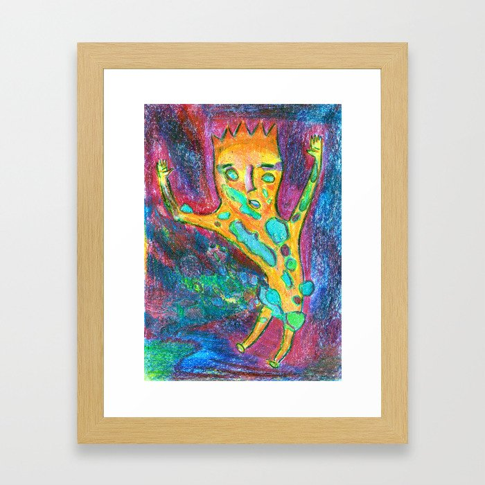 Jump into a colorful puddle. Framed Art Print