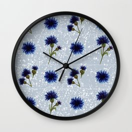 Blue cornflower watercolor pattern Wall Clock