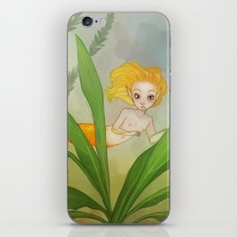 Gold fish mermaid iPhone Skin