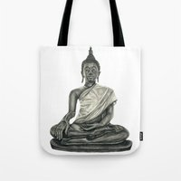 buddah Tote Bags featuring Buddah by Hollie B