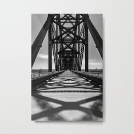 The Purple People Bridge in Black and White Metal Print