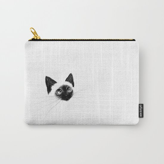 Curious Siamese Kitten Carry-All Pouch